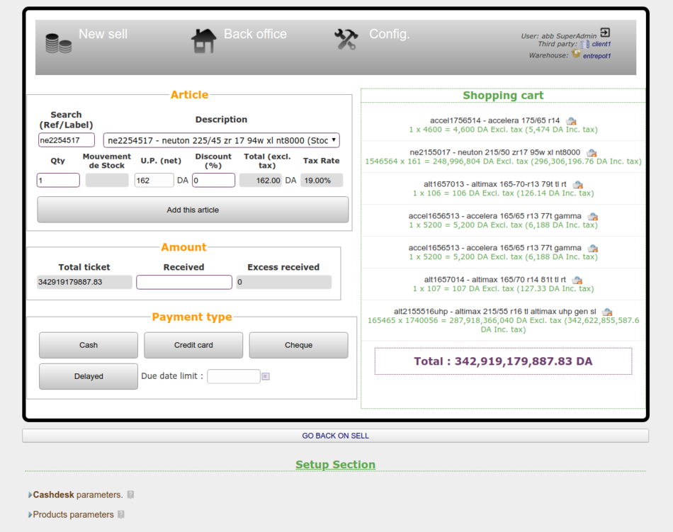 CashdeskPar POS page with one of the closed setup items