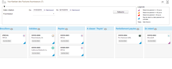 Dolibarr KanView module - Suppliers Invoices Kanban view